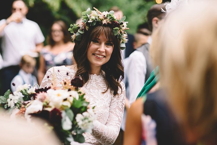 Boho Bride in Long Sleeve Lace  Wear Your Love Wedding Dress and Flower Crown with Long Hair and Fringe