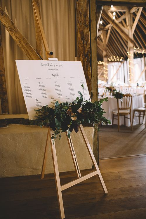 Wedding Seating Chart on Easel with Wild Flower Decor