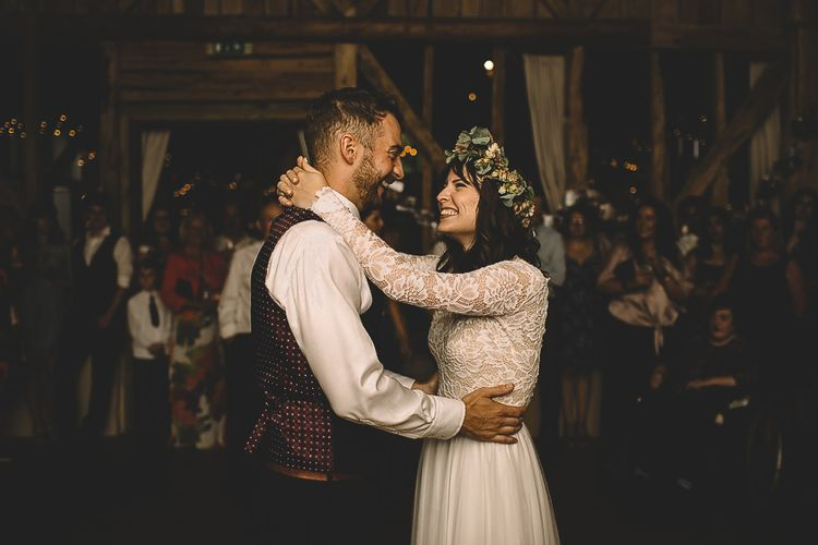 First Dance with Bride in Long Sleeve Lace Wear Your Love Wedding Dress and Flower Crown and Groom  in Navy Moss Bros.  Suit