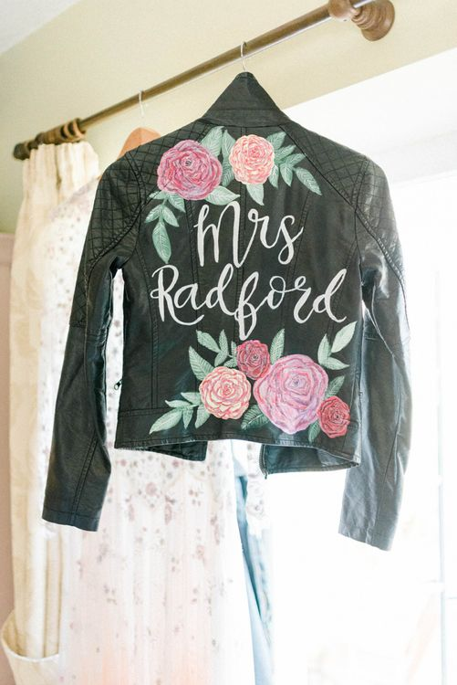 Hand Painted Leather Jacket Bridal Accessory