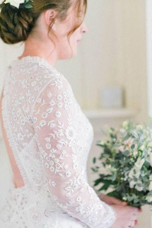 Needle and Thread Embellished Wedding Dress with Long Sleeves