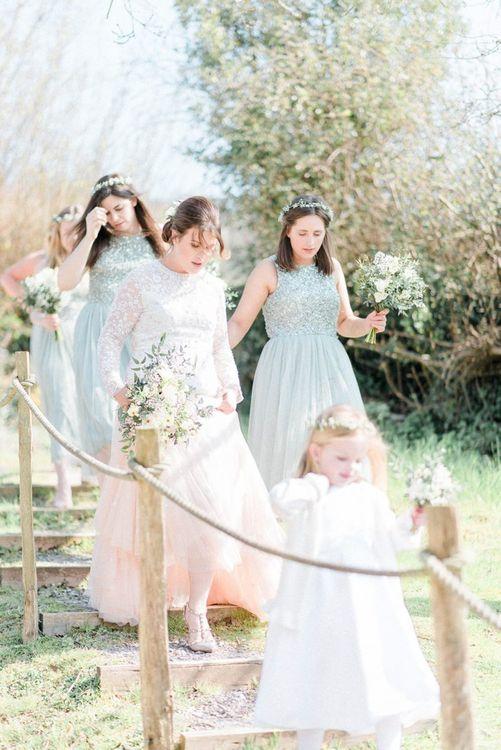 Bridal Party in Embellished Dresses