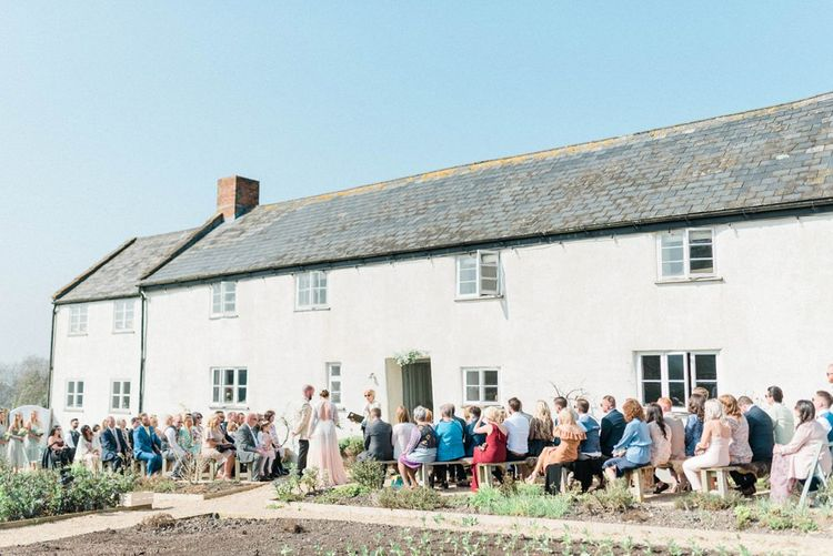 Outdoor Wedding Ceremony at River Cottage in Dorset