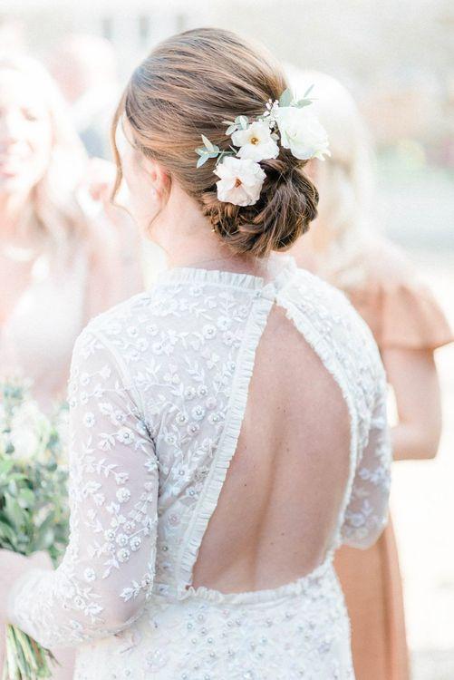 Chic Bridal Updo and Keyhole Back Needle & Thread Wedding Dress