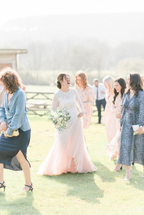 Bride in Tulle Pink Ombre Wedding Dress