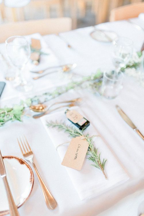 Place Setting with Jägermeister Miniature, Luggage Tag and Rosemary Sprig