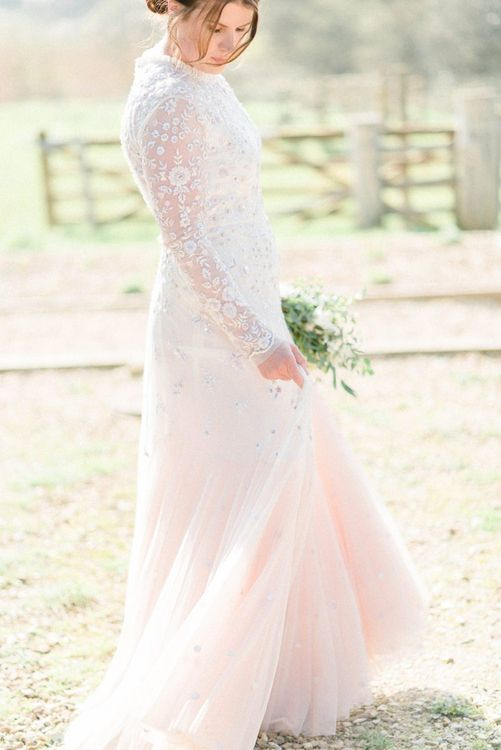Bride in Needle & Thread Pink Ombre Wedding Dress with Long Sleeves