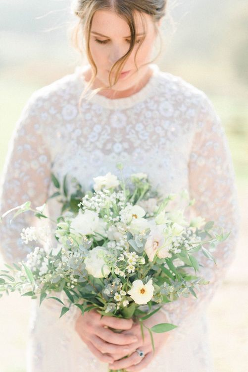 White and Green Just Picked Wedding Bouquet