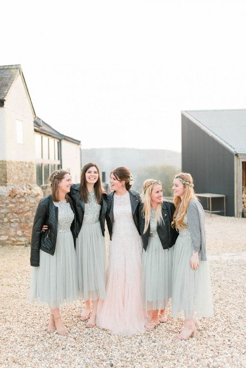 Bridesmaids in Pale Blue Sequin & Tulle Dresses with Leather Jackets and Bride in Needle & Thread Dress with Leather Jacket