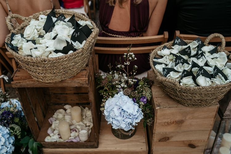 Confetti baskets with white petals