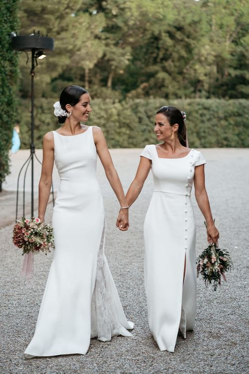Brides in fitted wedding dresses for same-sex wedding