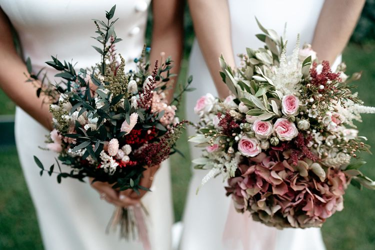 Bridal bouquets in blush pinks