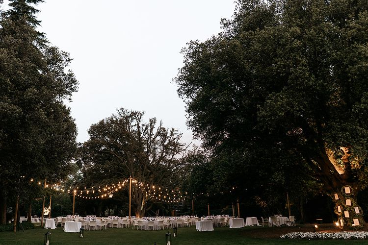 Pontoon lighting for wedding reception