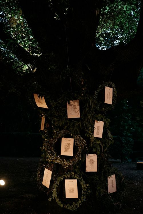 Tree table plan at Spanish wedding