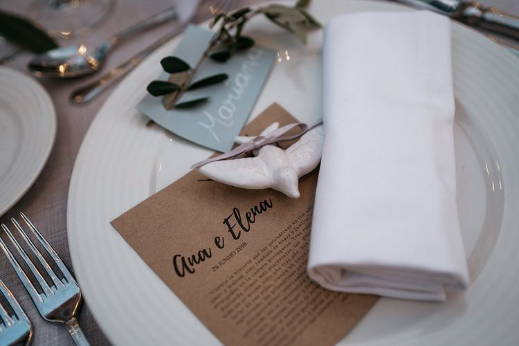 Wedding table place setting with menu