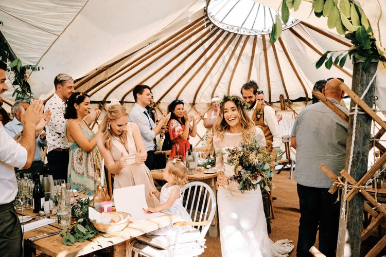 Bride and groom entrance into yurt