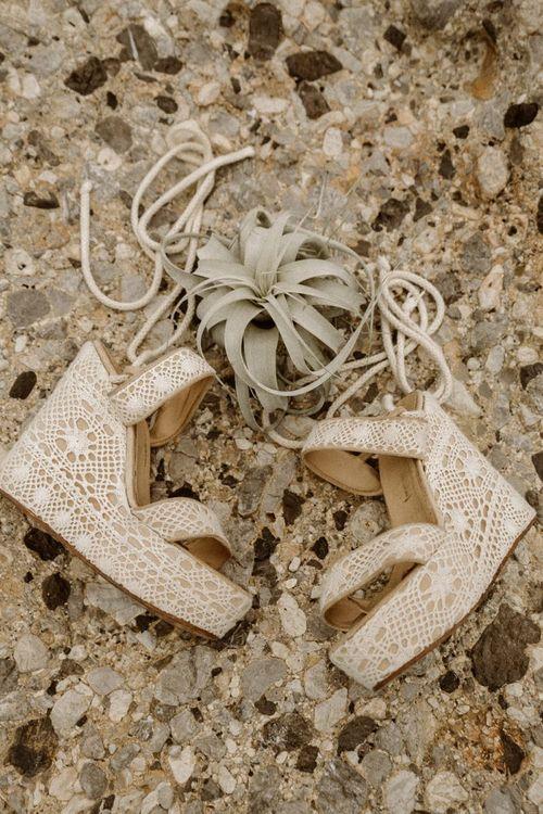 Lace platform wedding shoes
