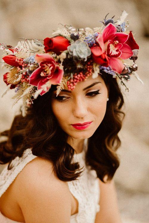 Boho bride in bride red flower crown