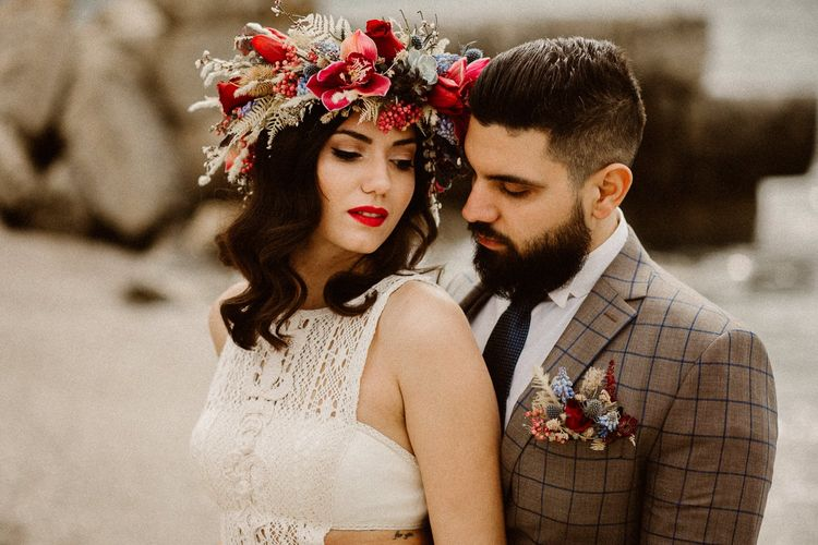 Intimate wedding photography at beach elopement