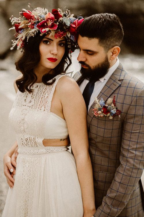 Stylish boho bride and groom