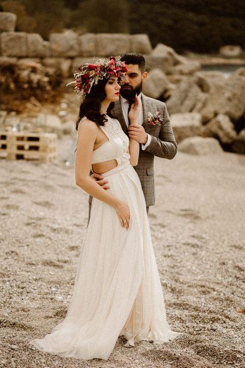 Bride in Zolotas wedding dress at beach elopement
