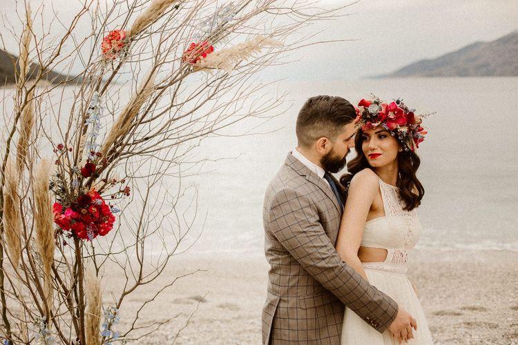 coastal bride and groom portrait