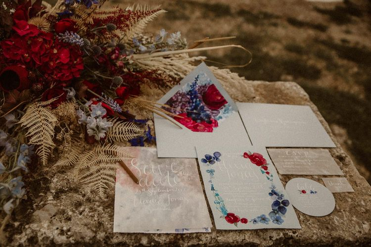 Blue and red wedding stationery suite for beach elopement
