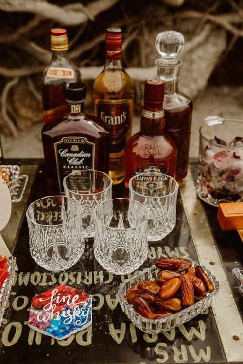 Crystal glasses for whiskey station