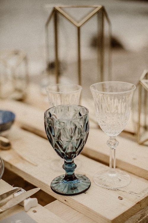 Coloured cut glass for beach elopement