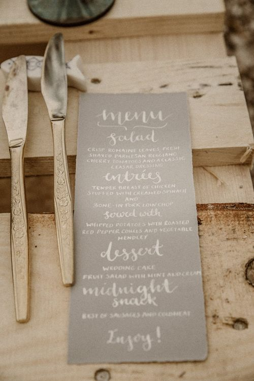 Menu card with calligraphy font