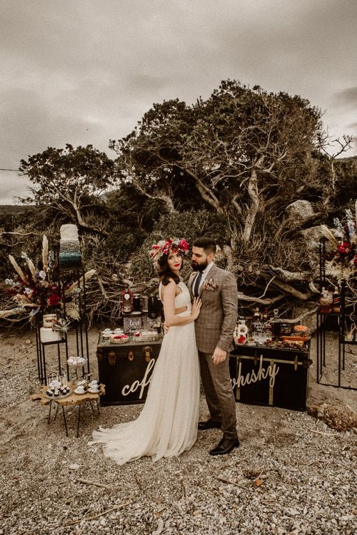 Bride and groom at beach elopement