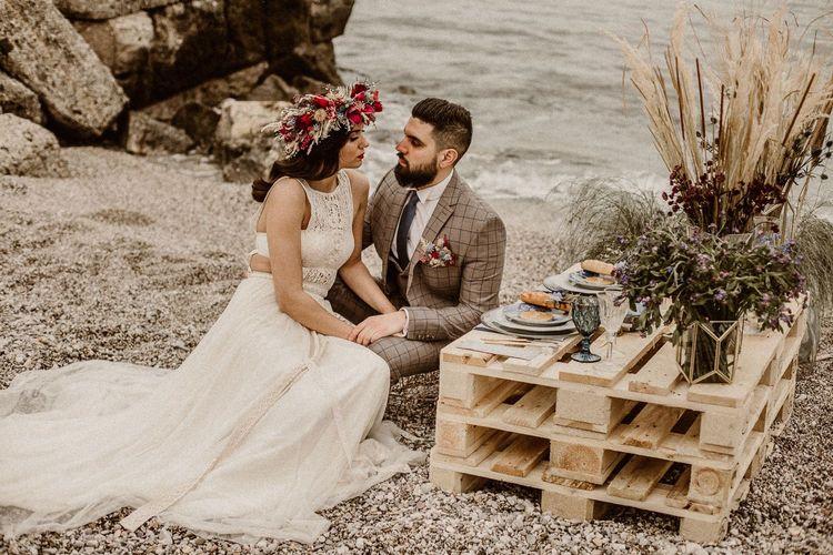 intimate picnic at beach elopement