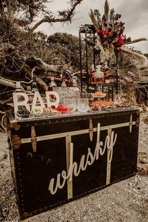 Whiskey bar drinks station