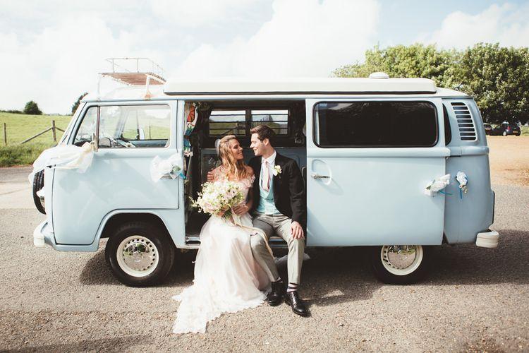 VW Camper Van   Bride in Bespoke Wilden London Wedding Dress   Groom in Morning Suit   Pastel Wedding at Appuldurcombe on the Isle of Wight   Maryanne Weddings Photography   Wight Weddings