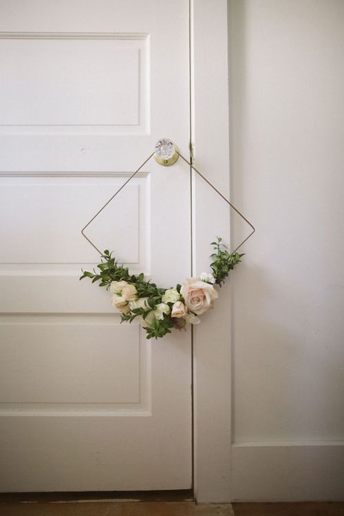 Geometric Hoop Bouquet Decorated with Flowers