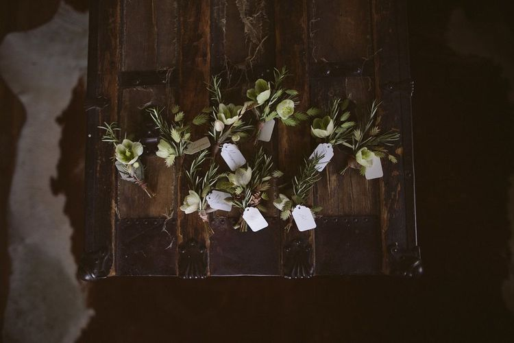Small Green Wedding Buttonholes