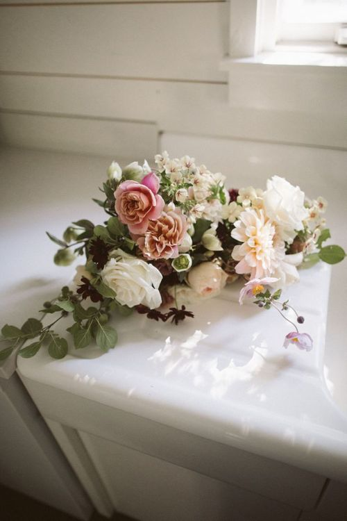 Blush Pink, Green and White Wedding Flowers