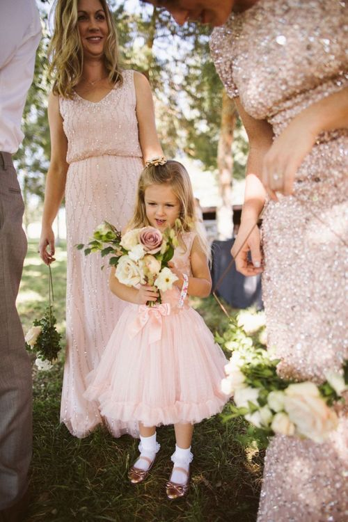 Bridesmaids and Flower Girl in Pink Sequin Dresses
