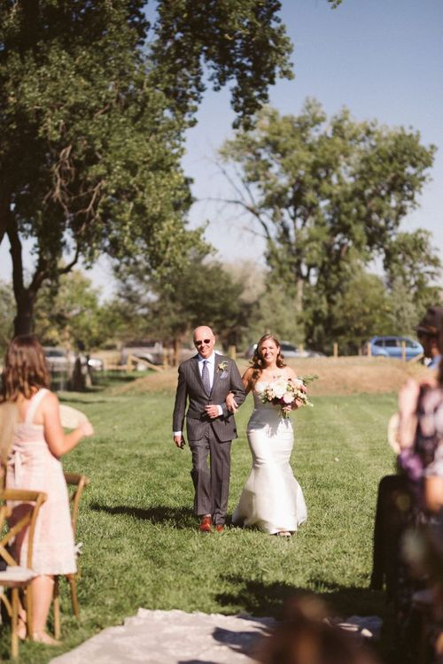 Outdoor Wedding Ceremony Bridal Entrance with Bride in Fishtail Wedding Dress