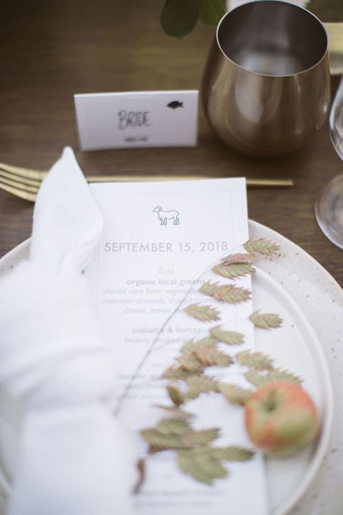 Place Setting with Menu Card, Apple and Foliage Stem