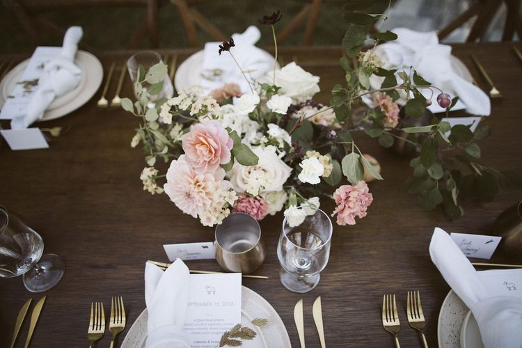 Blush Pink, White and Green Floral Centrepieces with Roses, Dahlias and Foliage