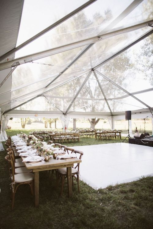 Outdoor Glasshouse Marquee Reception with White Dance Floor