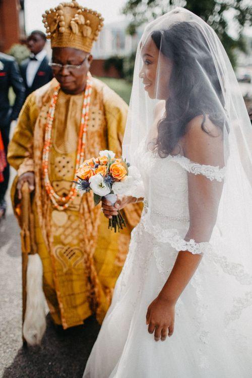 Classic bride in princess wedding dress