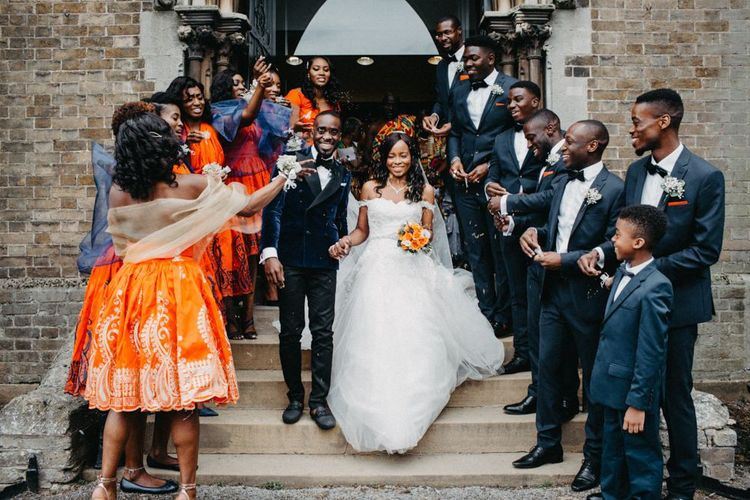 Western and African wedding