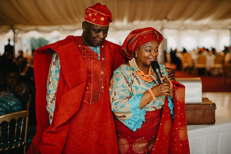 Wedding guests in traditional African wedding dress