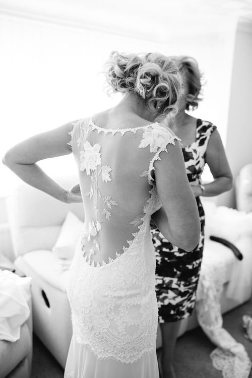 Wedding Morning Bridal Preparations | Bride in Claire Pettibone Whitney Bridal Gown with Cape | DIY Country Wedding at Warborne Farm, Lymington | Camilla Arnhold Photography