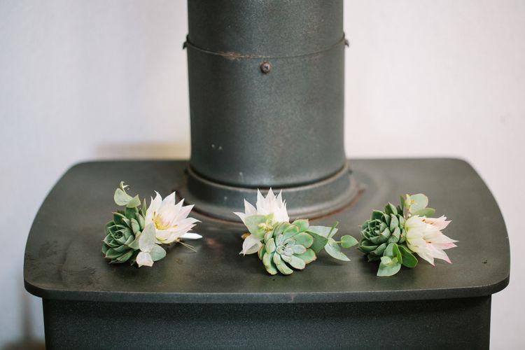 Succulent Buttonholes | DIY Country Wedding at Warborne Farm, Lymington | Camilla Arnhold Photography