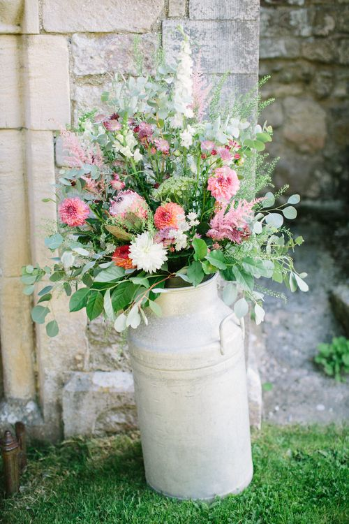Milk Churn Wedding Flowers | DIY Country Wedding at Warborne Farm, Lymington | Camilla Arnhold Photography