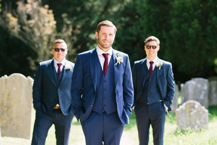 Groom in French Connection Navy Suit | Groomsmen in Marks and Spencer Navy Suits | DIY Country Wedding at Warborne Farm, Lymington | Camilla Arnhold Photography