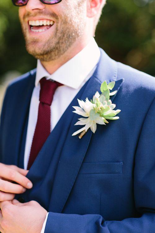 Succulent Buttonhole | DIY Country Wedding at Warborne Farm, Lymington | Camilla Arnhold Photography